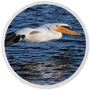 White Pelican Cruising Round Beach Towel