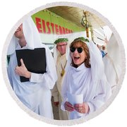 White Robed Bards At The Welsh National Eisteddfod Round Beach Towel