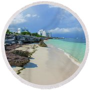 White Sandy Beach Of Cancun Round Beach Towel