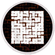 Round Beach Towel featuring the digital art White Square 17x17 by Attila Meszlenyi