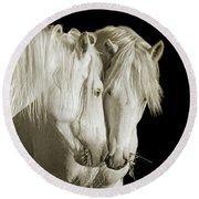 White Stallions Round Beach Towel