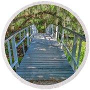 White Walking Bridge In Magnolia Round Beach Towel