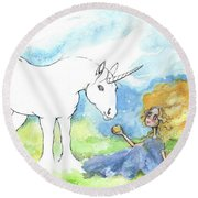 Why Don't You Color My Unicorn By Yourself Round Beach Towel