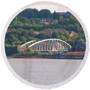 Wigg Island Swingbridge Round Beach Towel