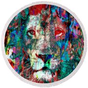Wild And Colorful 2 - The Lion Sleeps 48x48 Wall Size Canvas Or Paper Round Beach Towel
