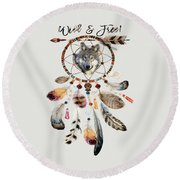 Round Beach Towel featuring the mixed media Wild And Free Wolf Spirit Dreamcatcher by Georgeta Blanaru