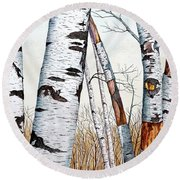 Wild Birch Trees In The Forest In Watercolor Round Beach Towel
