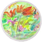 Wild Flowers In The Sunny Meadow Round Beach Towel