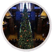 Wilderness Lodge Christmas Tree Round Beach Towel