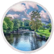 Willimantic River With Clouds Round Beach Towel
