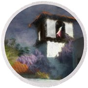 Round Beach Towel featuring the photograph Wind In The Tower Washline by Wayne King