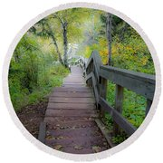 Winding Stairs In Autumn Round Beach Towel