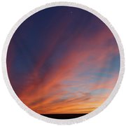 Round Beach Towel featuring the photograph Windmill And Afterglow 04 by Rob Graham
