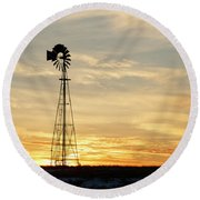 Round Beach Towel featuring the photograph Windmill At Sunset 02 by Rob Graham