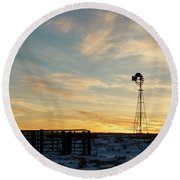 Round Beach Towel featuring the photograph Windmill At Sunset 04 by Rob Graham