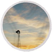 Round Beach Towel featuring the photograph Windmill At Sunset 06 by Rob Graham