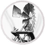 Round Beach Towel featuring the drawing Windmill by Clint Hansen