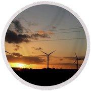 Windmill Sunset Round Beach Towel
