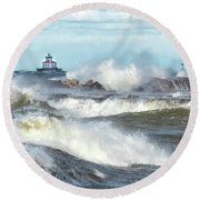 Round Beach Towel featuring the photograph Winds Of November by Rod Best