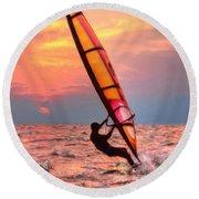 Windsurfing At Sunrise Round Beach Towel