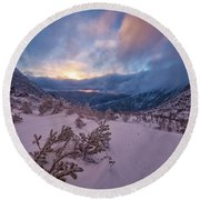 Windswept, Spring Sunrise In Tuckerman Ravine Round Beach Towel