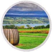 Round Beach Towel featuring the photograph Wine Country - Finger Lakes, New York by Lynn Bauer
