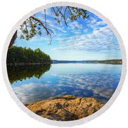 Winnisquam Sunrise Round Beach Towel