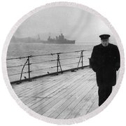 Winston Churchill At Sea Round Beach Towel