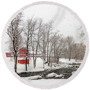 Round Beach Towel featuring the photograph Winter At Fallbrook by Rod Best