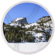 Round Beach Towel featuring the photograph Winter At Notchtop Mountain by Dawn Richards