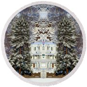Winter At The Susanville Elks Lodge Round Beach Towel