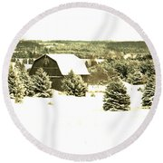 Winter Barn Round Beach Towel