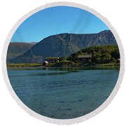 Winter Beach In Norway Round Beach Towel