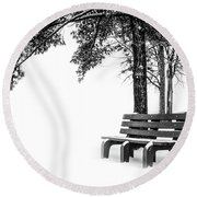 Round Beach Towel featuring the photograph Winter Bench  by Michael Arend