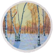 Winter Birches-cardinal Left Round Beach Towel