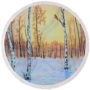 Winter Birches-cardinal Right Round Beach Towel