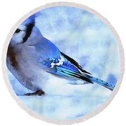 Winter Bluejay   ..digital Painting Round Beach Towel