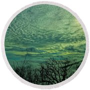 Winter Clouds Round Beach Towel