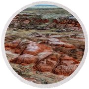 Round Beach Towel featuring the photograph Winter Colors Of The Painted Desert by Jon Burch Photography