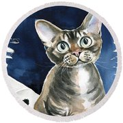 Winter Devon Rex Cat Painting Round Beach Towel