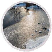 Winter Landscape At Whitesbog Round Beach Towel