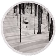 Winter Light In The Forest Round Beach Towel
