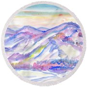 Winter Mountain Landscape Round Beach Towel