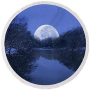 Winter Night On The Pond Round Beach Towel