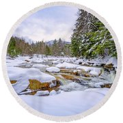 Winter On The Swift River. Round Beach Towel