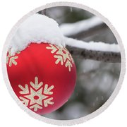 Round Beach Towel featuring the photograph Winter Scene - Red Christmas Ball Outside, With Snow On It by Cristina Stefan