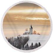 Winter Sunrise At Jamnik Church Of Saints Primus And Felician Round Beach Towel