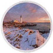 Winter Sunrise At Portland Head Light Round Beach Towel