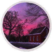Round Beach Towel featuring the photograph Winter Sunrise by Lori Coleman