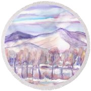 Winter Sunrise On A Frosty River Round Beach Towel